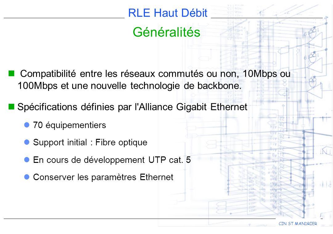 RLE Haut Débit CIN ST MANDRIER Généralités Compatibilité entre les réseaux commutés ou non, 10Mbps ou 100Mbps et une nouvelle technologie de backbone.
