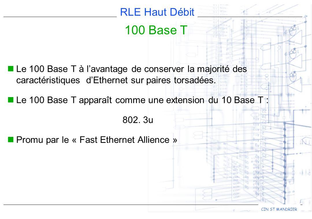 RLE Haut Débit CIN ST MANDRIER 100 Base T Le 100 Base T à lavantage de conserver la majorité des caractéristiques dEthernet sur paires torsadées.