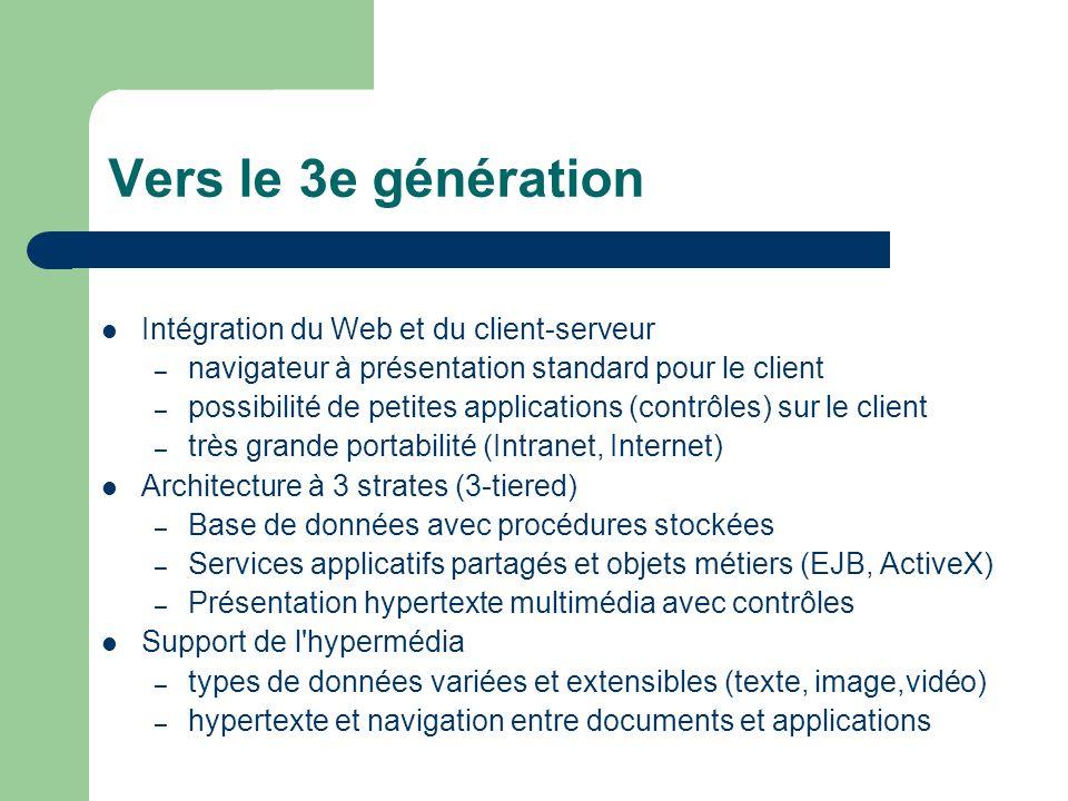 Vers le 3e génération Intégration du Web et du client-serveur – navigateur à présentation standard pour le client – possibilité de petites applications (contrôles) sur le client – très grande portabilité (Intranet, Internet) Architecture à 3 strates (3-tiered) – Base de données avec procédures stockées – Services applicatifs partagés et objets métiers (EJB, ActiveX) – Présentation hypertexte multimédia avec contrôles Support de l hypermédia – types de données variées et extensibles (texte, image,vidéo) – hypertexte et navigation entre documents et applications