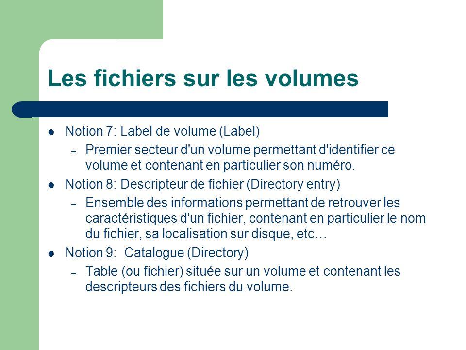 Les fichiers sur les volumes Notion 7: Label de volume (Label) – Premier secteur d un volume permettant d identifier ce volume et contenant en particulier son numéro.