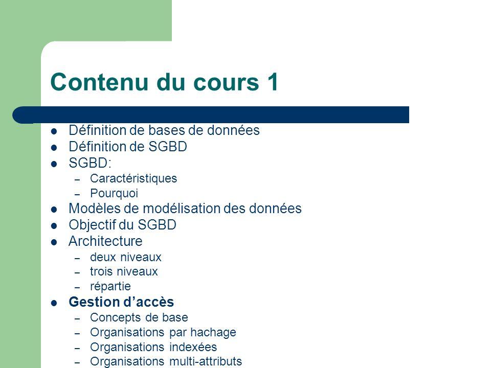 Contenu du cours 1 Définition de bases de données Définition de SGBD SGBD: – Caractéristiques – Pourquoi Modèles de modélisation des données Objectif du SGBD Architecture – deux niveaux – trois niveaux – répartie Gestion daccès – Concepts de base – Organisations par hachage – Organisations indexées – Organisations multi-attributs