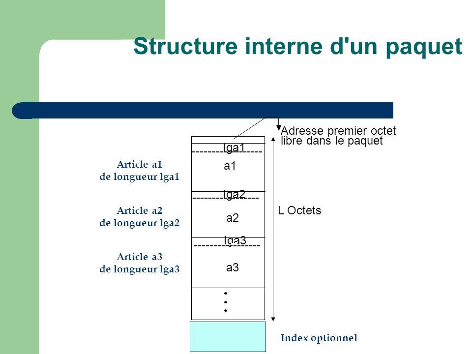 Iga1 ------------------ Iga2 ----------------- Iga3 ----------------- L Octets Adresse premier octet libre dans le paquet a1 a2 a3 Article a1 de longueur lga1 Article a2 de longueur lga2 Article a3 de longueur lga3 Index optionnel Structure interne d un paquet