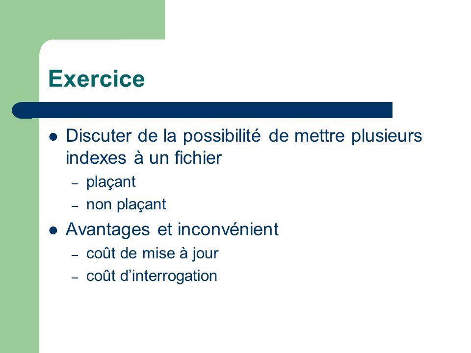 Exercice Discuter de la possibilité de mettre plusieurs indexes à un fichier – plaçant – non plaçant Avantages et inconvénient – coût de mise à jour – coût dinterrogation
