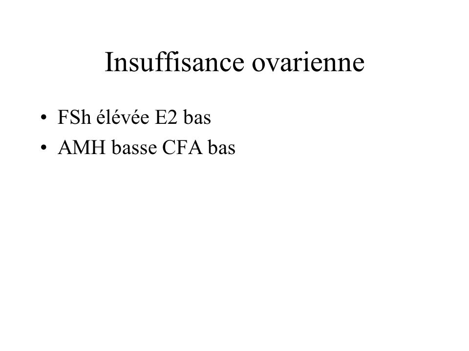 Insuffisance ovarienne FSh élévée E2 bas AMH basse CFA bas