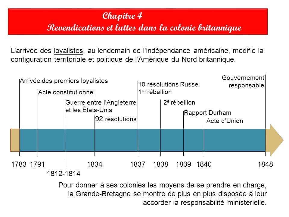 Réponses Revendications et luttes dans la colonie britannique A)Pour que les Canadiens français, supérieurs en nombre, ne contrôlent PAS le gouvernement, votent des lois favorables à lagriculture et perpétuent(propagent) le nationalisme canadien- français.