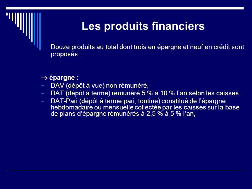 Les produits financiers Douze produits au total dont trois en épargne et neuf en crédit sont proposés : épargne : - DAV (dépôt à vue) non rémunéré, -
