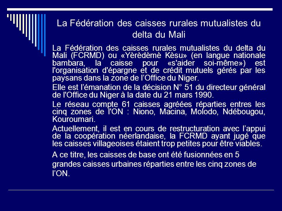 La Fédération des caisses rurales mutualistes du delta du Mali La Fédération des caisses rurales mutualistes du delta du Mali (FCRMD) ou «Yèrèdèmè Kès