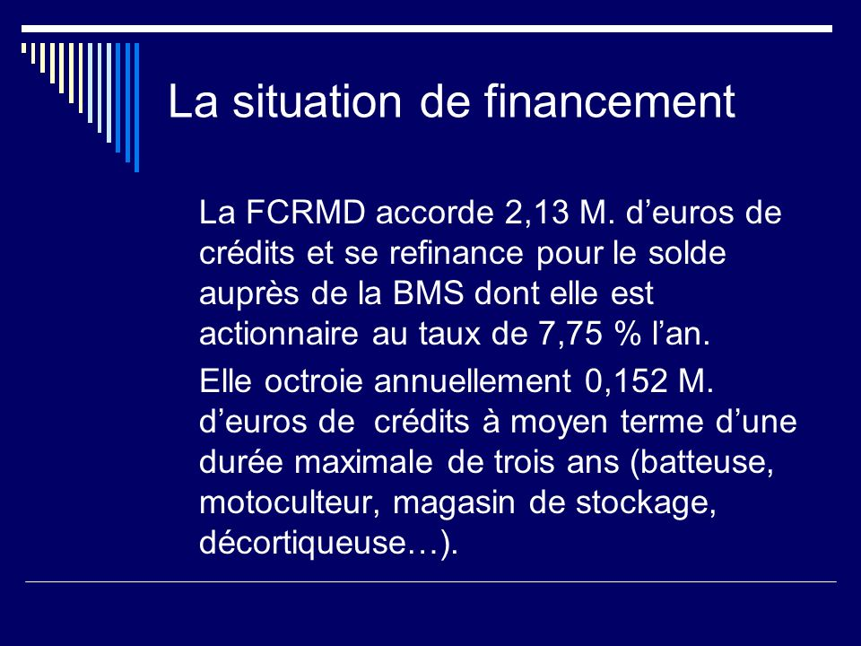 La situation de financement La FCRMD accorde 2,13 M.