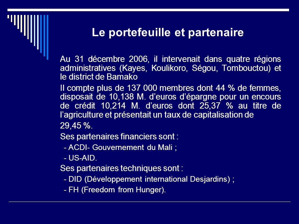 Le portefeuille et partenaire Au 31 décembre 2006, il intervenait dans quatre régions administratives (Kayes, Koulikoro, Ségou, Tombouctou) et le dist