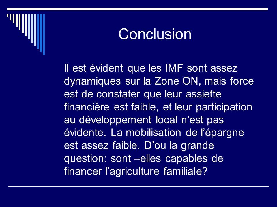 Conclusion Il est évident que les IMF sont assez dynamiques sur la Zone ON, mais force est de constater que leur assiette financière est faible, et le