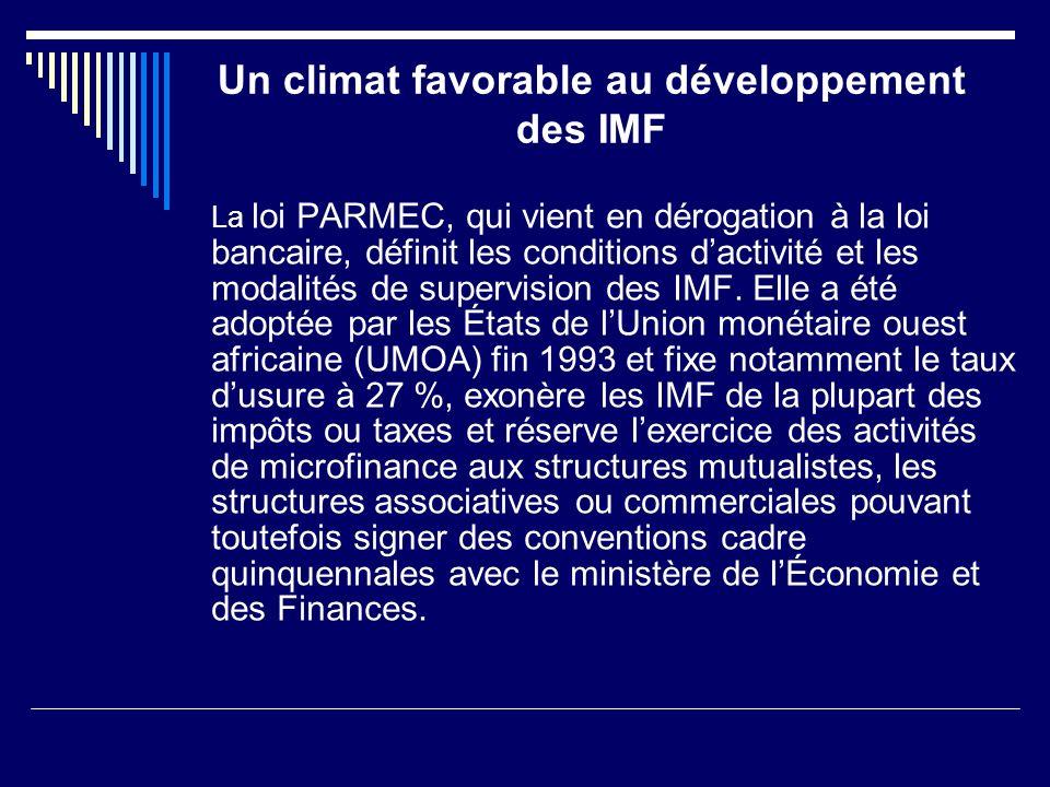 Un climat favorable au développement des IMF La loi PARMEC, qui vient en dérogation à la loi bancaire, définit les conditions dactivité et les modalit
