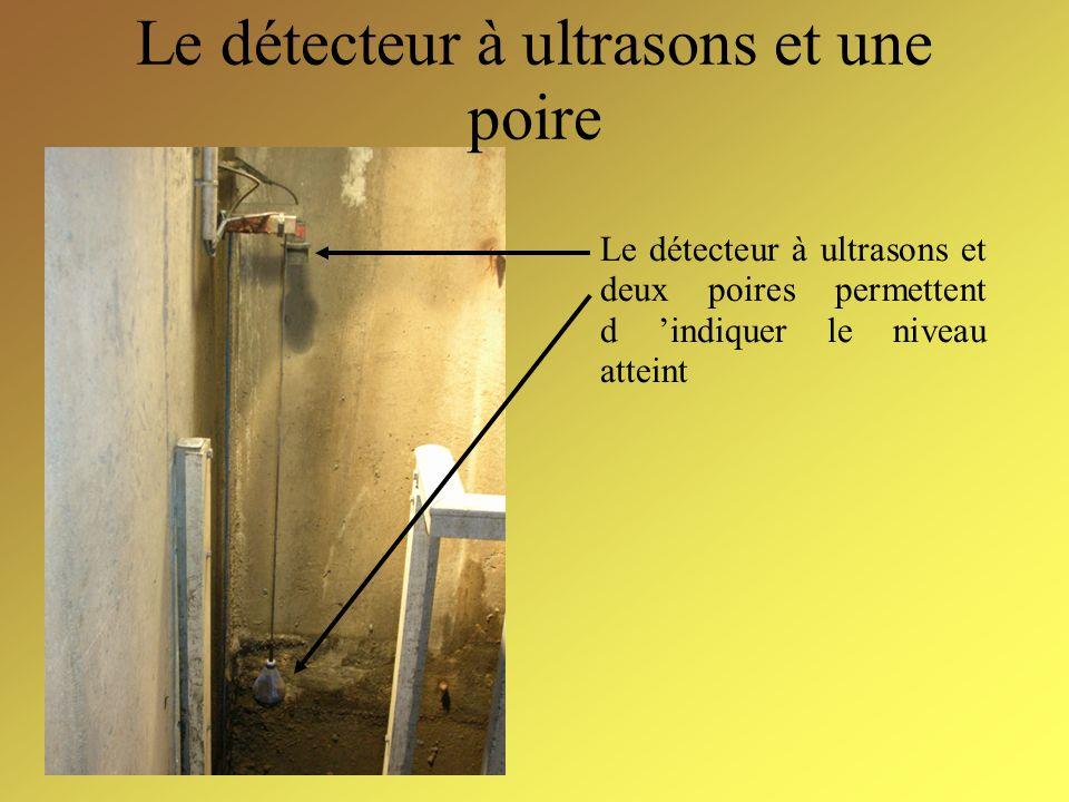 Le détecteur à ultrasons et une poire Le détecteur à ultrasons et deux poires permettent d indiquer le niveau atteint