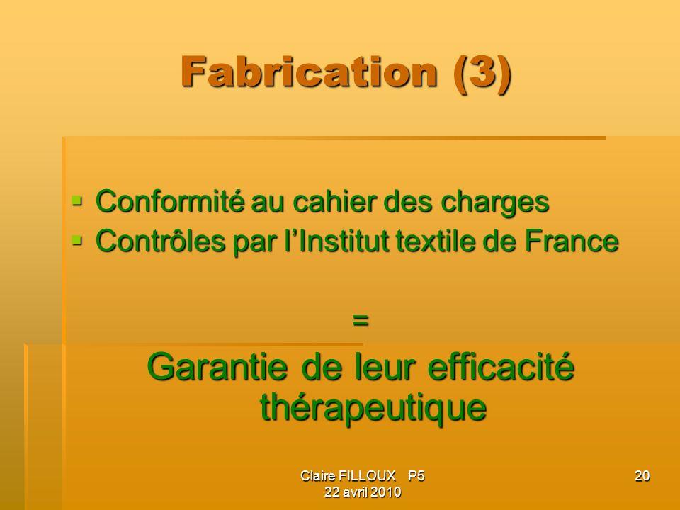 Claire FILLOUX P5 22 avril 2010 20 Fabrication (3) Conformité au cahier des charges Conformité au cahier des charges Contrôles par lInstitut textile d