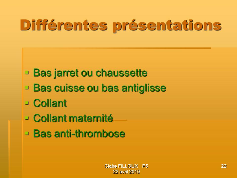 Claire FILLOUX P5 22 avril 2010 22 Différentes présentations Bas jarret ou chaussette Bas jarret ou chaussette Bas cuisse ou bas antiglisse Bas cuisse