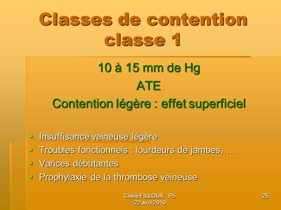 Claire FILLOUX P5 22 avril 2010 25 Classes de contention classe 1 10 à 15 mm de Hg ATE Contention légère : effet superficiel Insuffisance veineuse lég