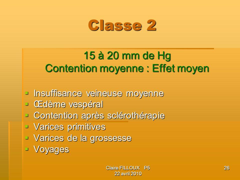 Claire FILLOUX P5 22 avril 2010 26 Classe 2 15 à 20 mm de Hg Contention moyenne : Effet moyen Insuffisance veineuse moyenne Insuffisance veineuse moye