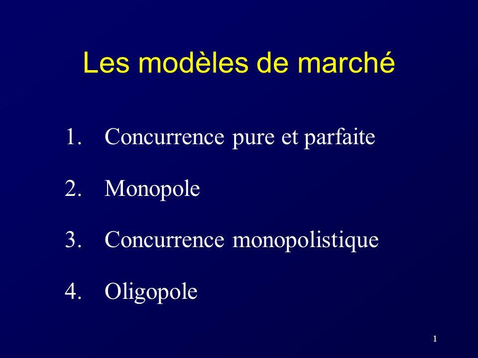 1 Les modèles de marché 1.Concurrence pure et parfaite 2.Monopole 3. Concurrence monopolistique 4. Oligopole