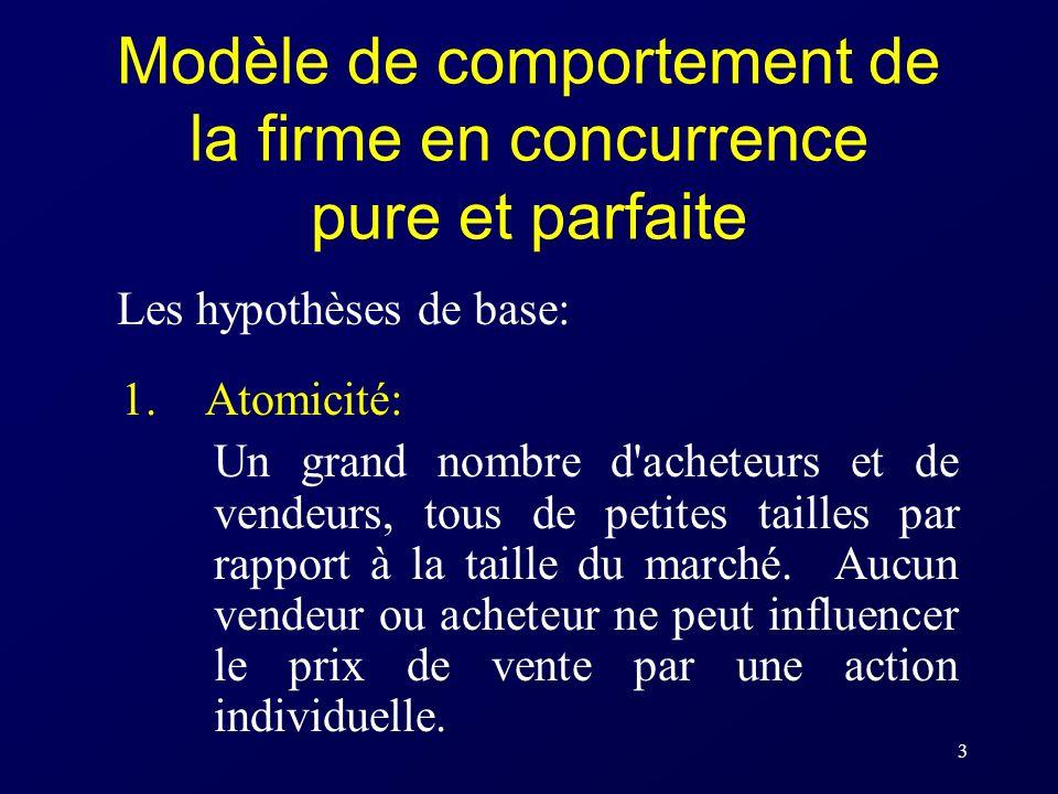 3 Modèle de comportement de la firme en concurrence pure et parfaite Les hypothèses de base: 1. Atomicité: Un grand nombre d'acheteurs et de vendeurs,