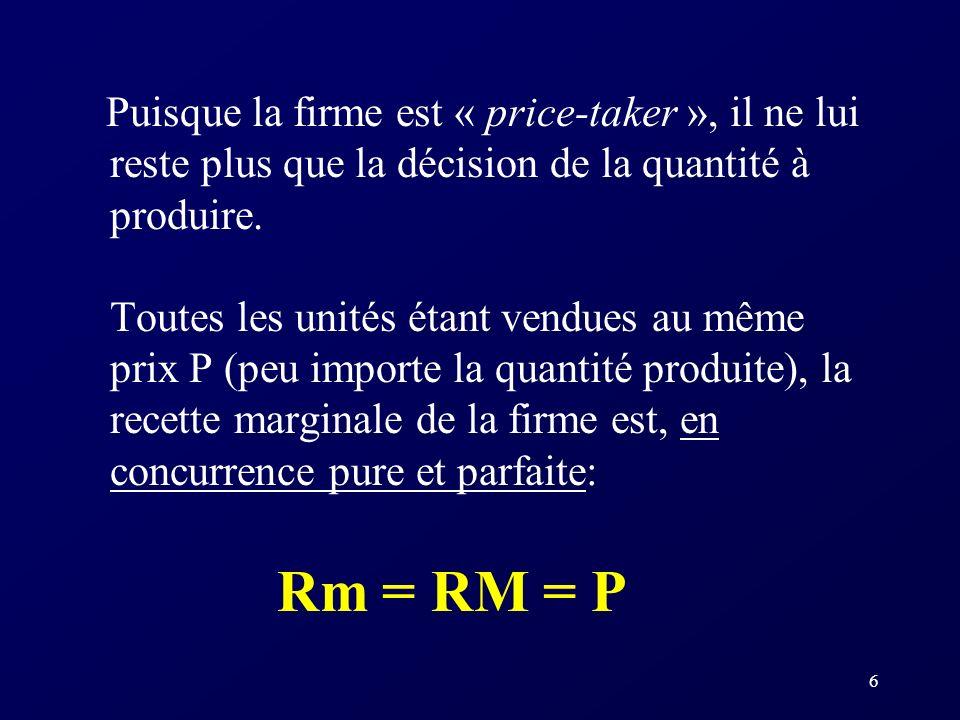 7 Rappel: la règle de maximisation des profits (pour déterminer Q*) étant Rm = Cm, en c.p.p., la règle de maximisation des profits devient: