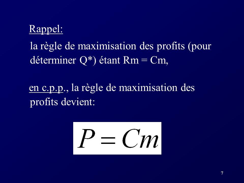 8 Décision de production à court terme Lentreprise choisira la quantité à produire Q* qui maximisera ses profits selon la règle Rm = Cm, qui devient ici P = Cm.