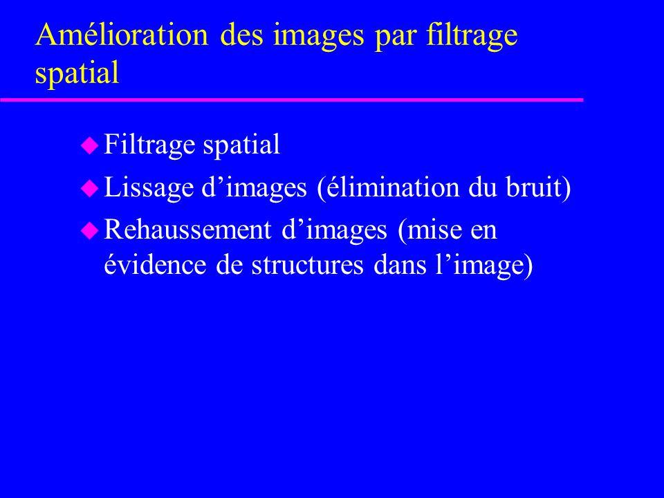 Amélioration des images par filtrage spatial u Filtrage spatial u Lissage dimages (élimination du bruit) u Rehaussement dimages (mise en évidence de structures dans limage)