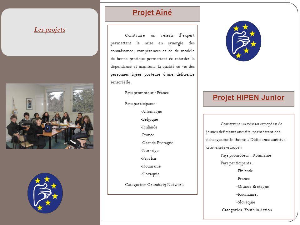 Les projets Projet Aîné Projet HIPEN Junior Construire un réseau dexpert permettant la mise en synergie des connaissance, compétences et de de modèle