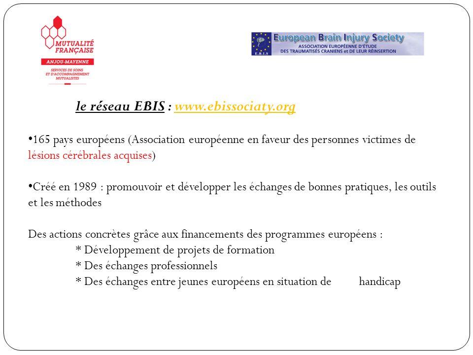 le réseau EBIS : www.ebissociaty.org 165 pays européens (Association européenne en faveur des personnes victimes de lésions cérébrales acquises) Créé