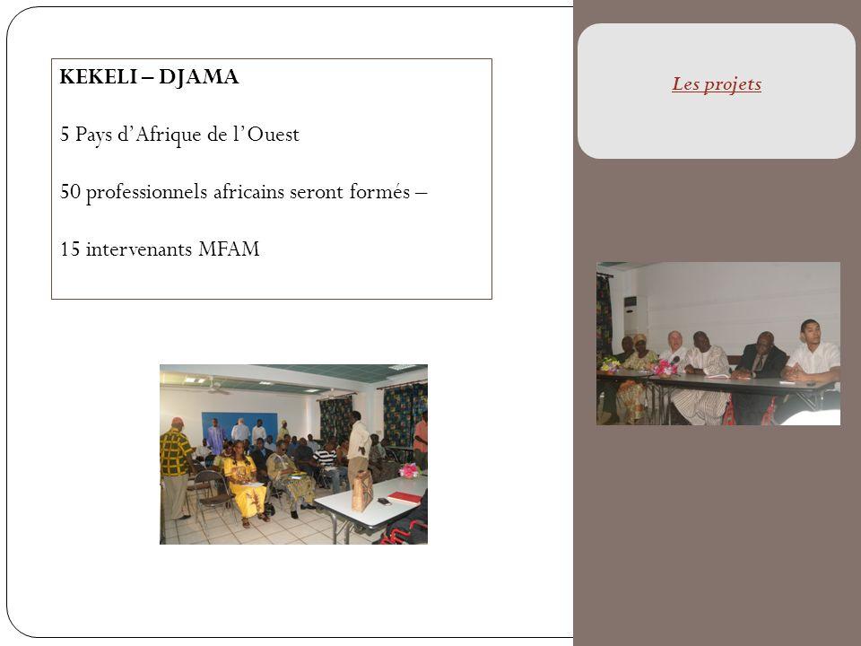 KEKELI – DJAMA 5 Pays dAfrique de lOuest 50 professionnels africains seront formés – 15 intervenants MFAM Les projets