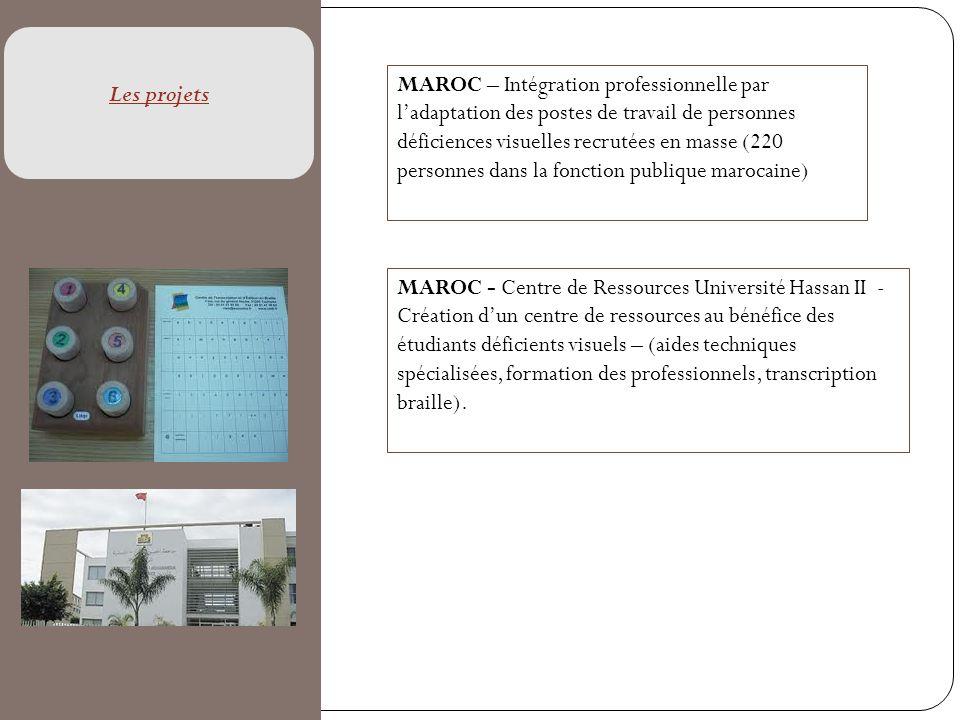 MAROC – Intégration professionnelle par ladaptation des postes de travail de personnes déficiences visuelles recrutées en masse (220 personnes dans la