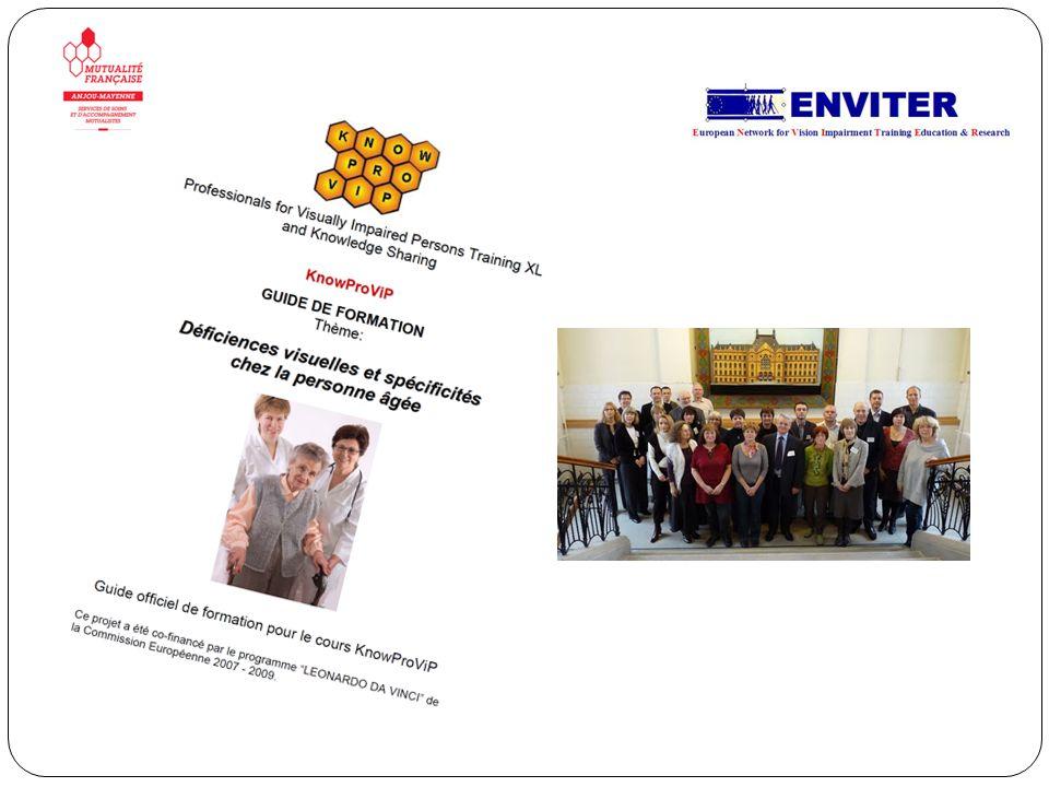 E-VISION 55 PLUS : En 2008 et 2009, 5 partenaires dAllemagne, de France, des Pays-Bas, dIrlande et du Royaume-Uni ont construit une plateforme de connaissance à destination des personnes de plus de 55 ans pour leur apporter une information sur la déficience visuelle et la vision après 55 ans, et des conseils pour maintenir une autonomie, une vie sociale et des activités Quelques projets réalisés.