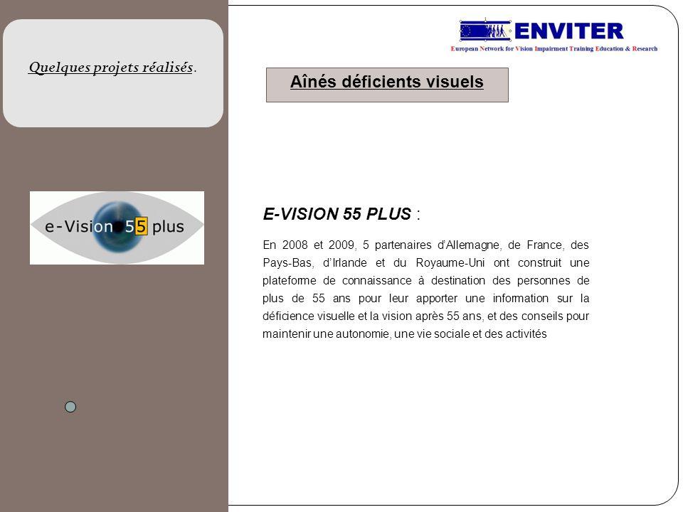 E-VISION 55 PLUS : En 2008 et 2009, 5 partenaires dAllemagne, de France, des Pays-Bas, dIrlande et du Royaume-Uni ont construit une plateforme de conn