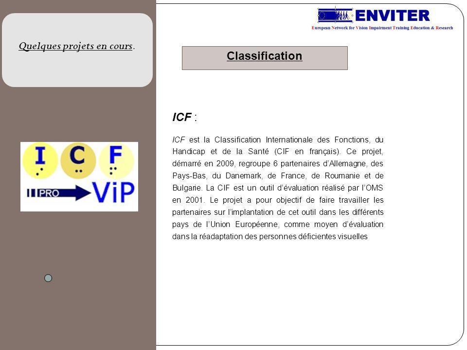 ICF : ICF est la Classification Internationale des Fonctions, du Handicap et de la Santé (CIF en français). Ce projet, démarré en 2009, regroupe 6 par