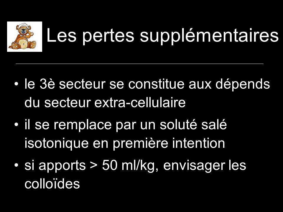 Les pertes supplémentaires le 3è secteur se constitue aux dépends du secteur extra-cellulaire il se remplace par un soluté salé isotonique en première intention si apports > 50 ml/kg, envisager les colloïdes