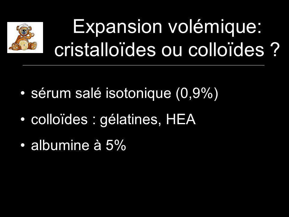 Expansion volémique: cristalloïdes ou colloïdes .