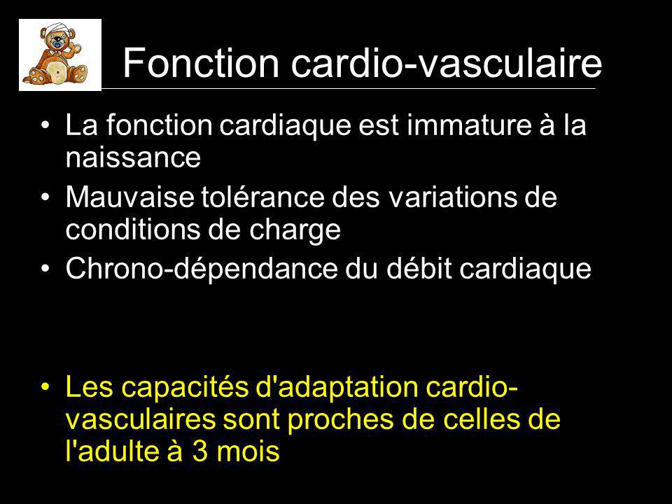 La fonction cardiaque est immature à la naissance Mauvaise tolérance des variations de conditions de charge Chrono-dépendance du débit cardiaque Les capacités d adaptation cardio- vasculaires sont proches de celles de l adulte à 3 mois Fonction cardio-vasculaire