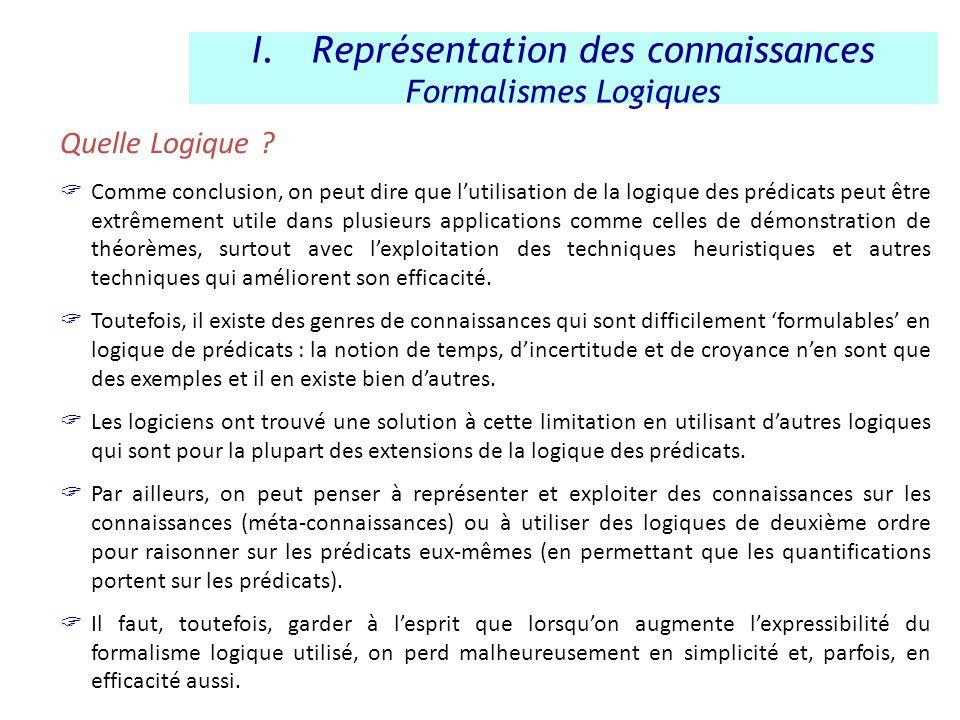 Quelle Logique ? Comme conclusion, on peut dire que lutilisation de la logique des prédicats peut être extrêmement utile dans plusieurs applications c