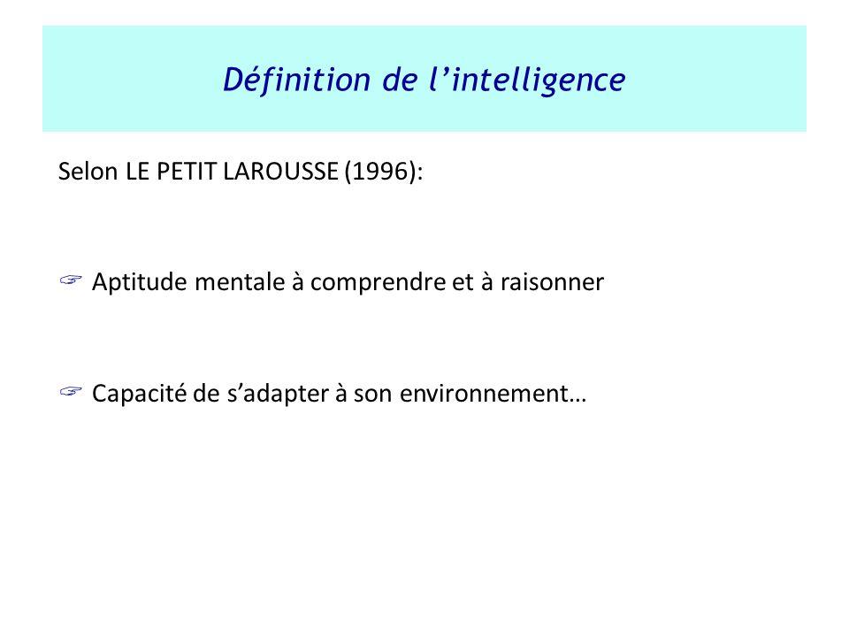 Définition de lintelligence Selon LE PETIT LAROUSSE (1996): Aptitude mentale à comprendre et à raisonner Capacité de sadapter à son environnement…