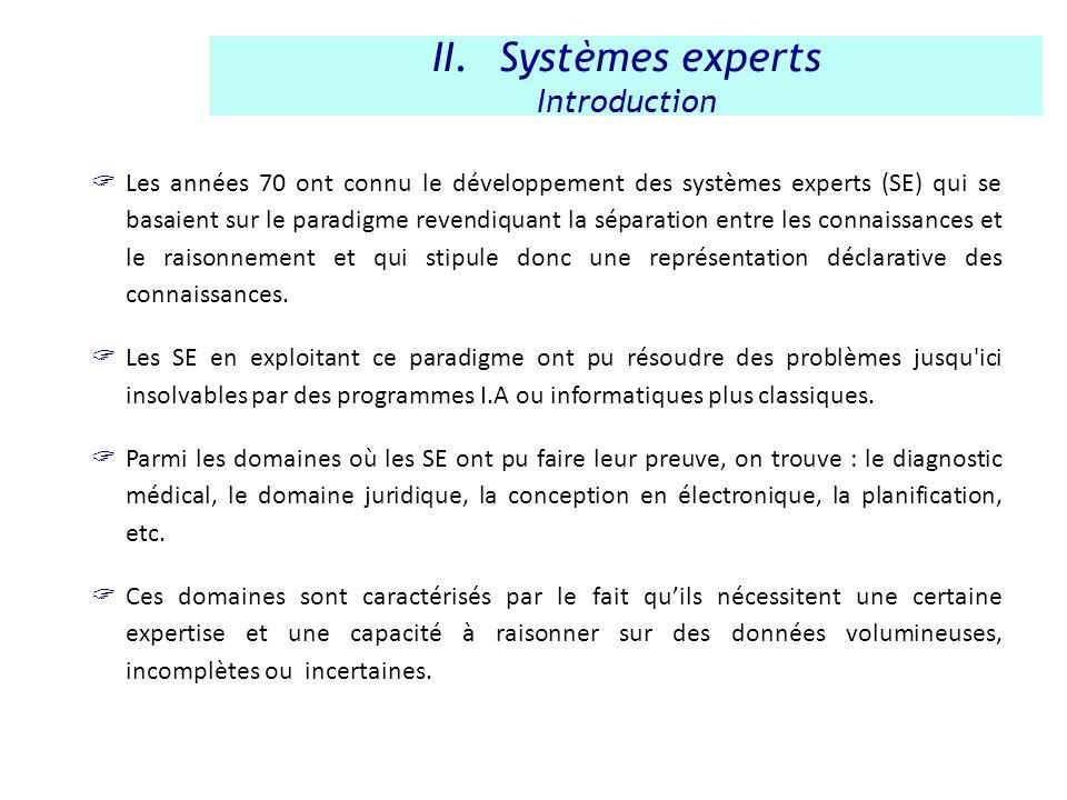 Les années 70 ont connu le développement des systèmes experts (SE) qui se basaient sur le paradigme revendiquant la séparation entre les connaissances