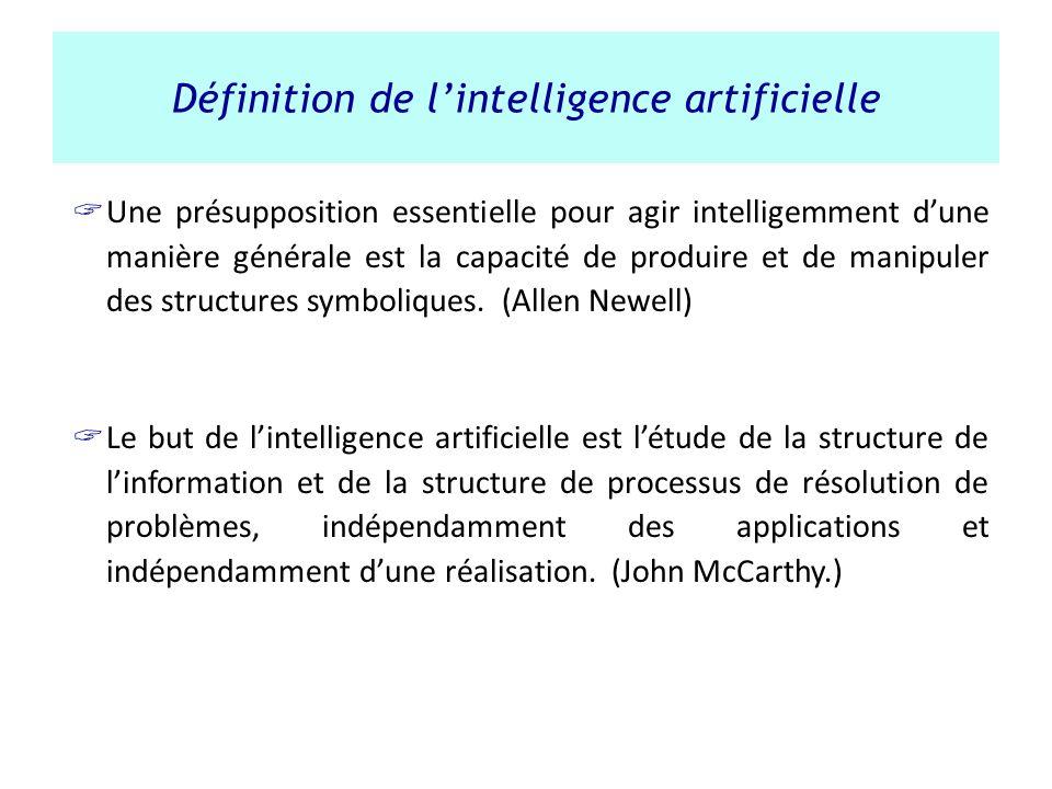 Définition de lintelligence artificielle Une présupposition essentielle pour agir intelligemment dune manière générale est la capacité de produire et
