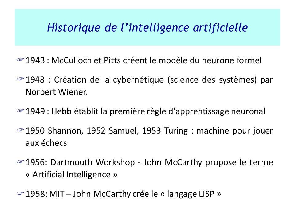 Historique de lintelligence artificielle 1943 : McCulloch et Pitts créent le modèle du neurone formel 1948 : Création de la cybernétique (science des