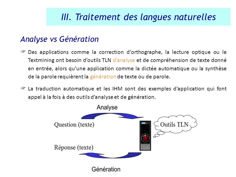 Analyse vs Génération Des applications comme la correction d'orthographe, la lecture optique ou le Textmining ont besoin doutils TLN danalyse et de co