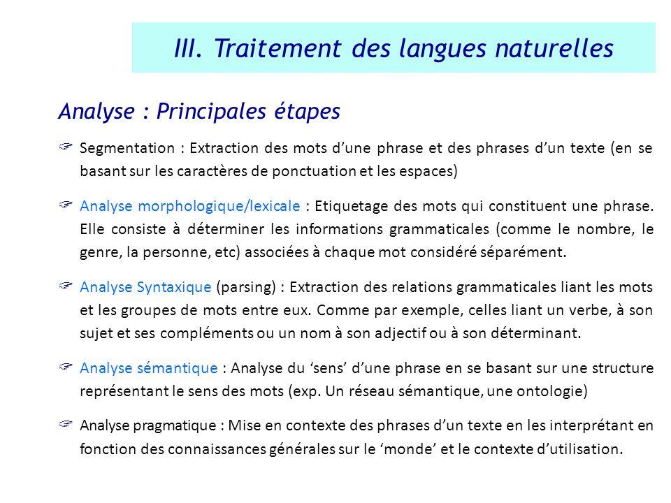 Analyse : Principales étapes Segmentation : Extraction des mots dune phrase et des phrases dun texte (en se basant sur les caractères de ponctuation e