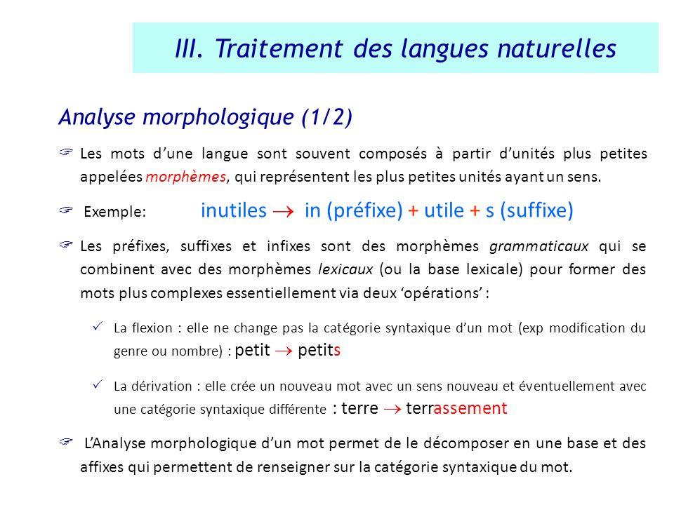 Analyse morphologique (1/2) Les mots dune langue sont souvent composés à partir dunités plus petites appelées morphèmes, qui représentent les plus pet