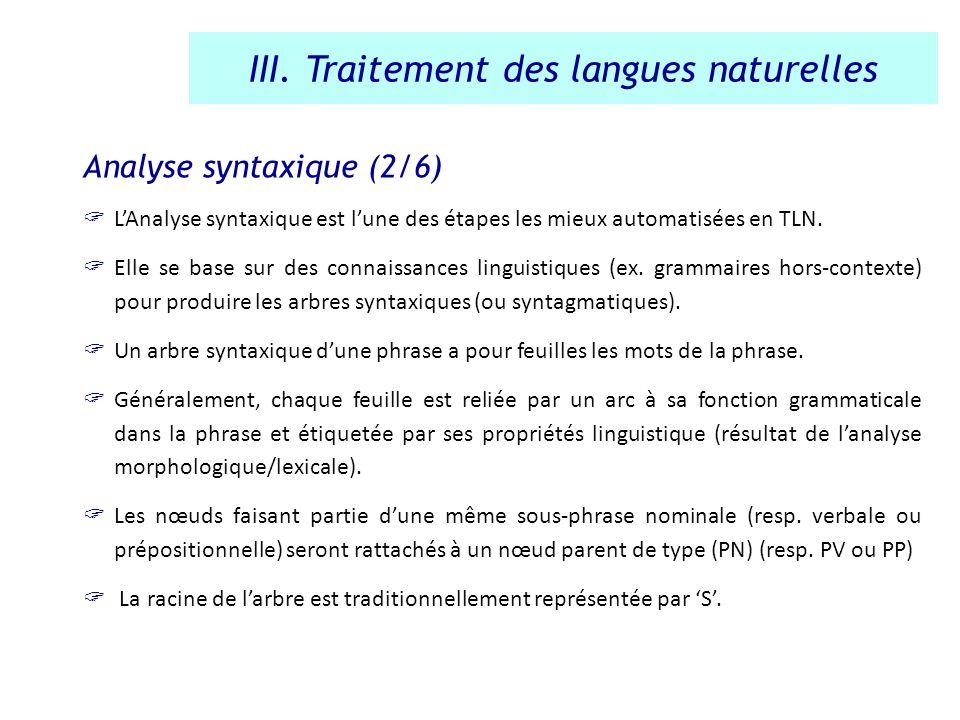 Analyse syntaxique (2/6) LAnalyse syntaxique est lune des étapes les mieux automatisées en TLN. Elle se base sur des connaissances linguistiques (ex.