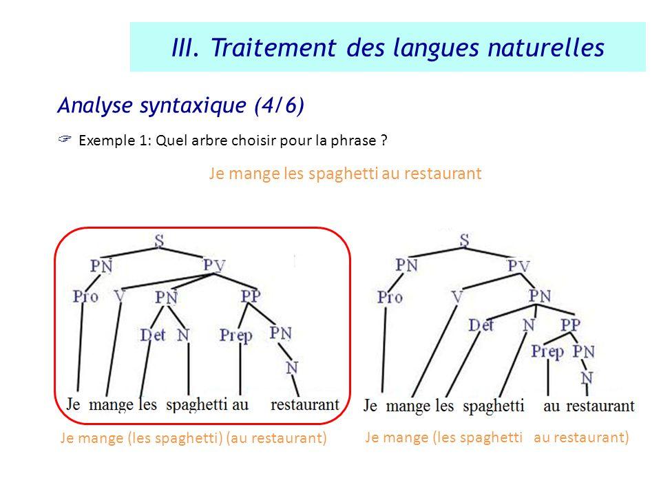 Analyse syntaxique (4/6) Exemple 1: Quel arbre choisir pour la phrase ? Je mange les spaghetti au restaurant III. Traitement des langues naturelles Je