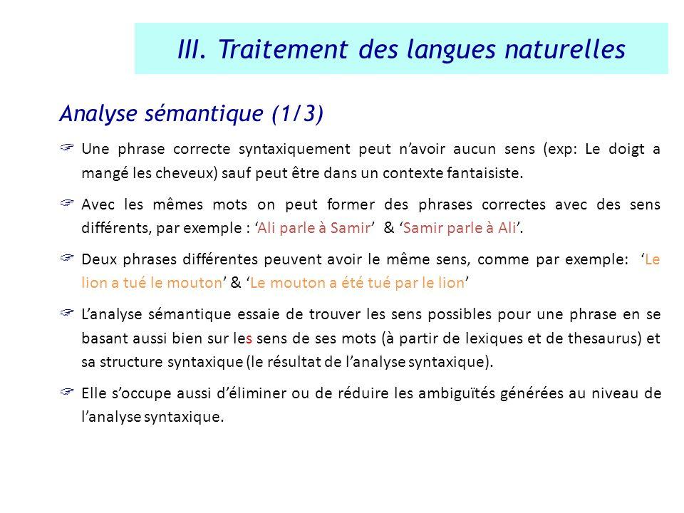 Analyse sémantique (1/3) Une phrase correcte syntaxiquement peut navoir aucun sens (exp: Le doigt a mangé les cheveux) sauf peut être dans un contexte