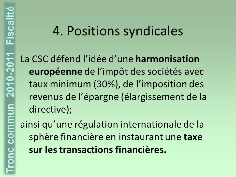 4. Positions syndicales La CSC défend lidée dune harmonisation européenne de limpôt des sociétés avec taux minimum (30%), de limposition des revenus d