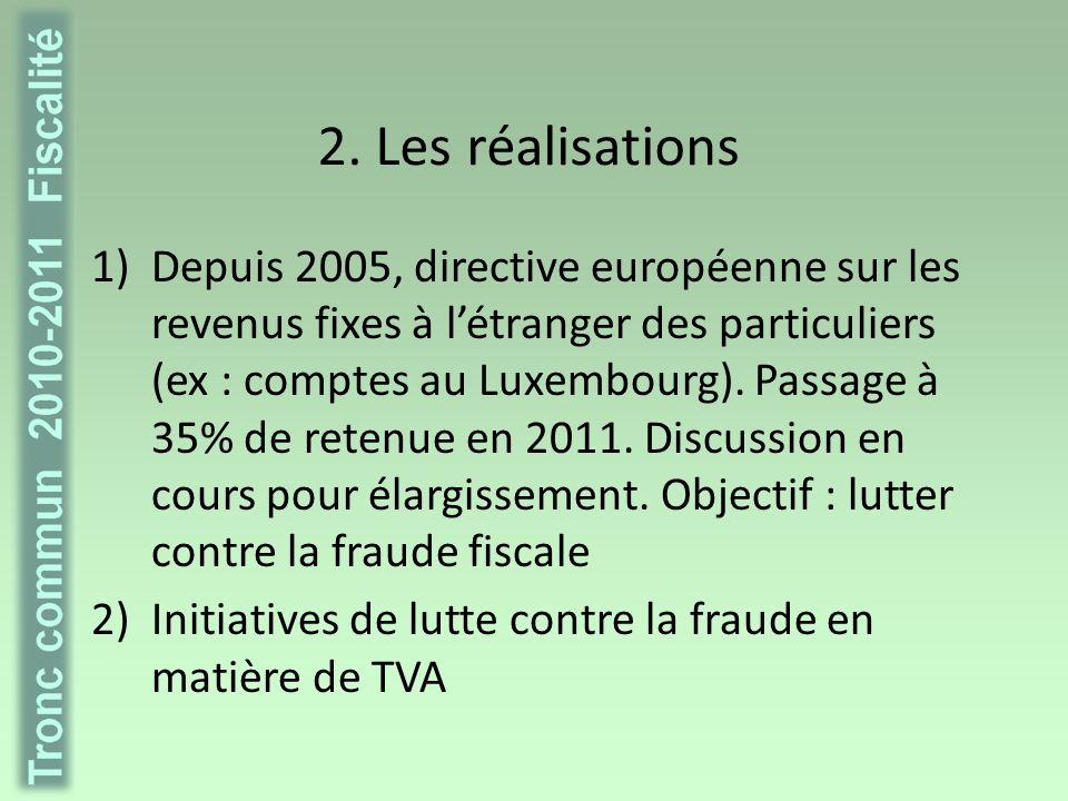 2. Les réalisations 1)Depuis 2005, directive européenne sur les revenus fixes à létranger des particuliers (ex : comptes au Luxembourg). Passage à 35%