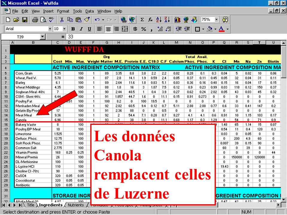 Cliquer sur le 15 pour faire ressortir la ligne Luzerne, presser ensuite sur le bouton droit de la souris pour afficher le menu Edition,et cliquer sur Coller.