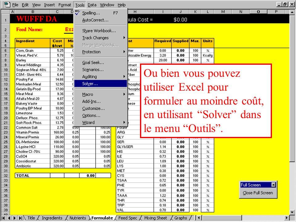 Formulation dun aliment Vous pouvez entrer directement les données dans la colonne Quantités à gauche de la feuille, et les Nutriments apportés par ces quantités seront affichés à droite dans la colonne Supplied (apports).